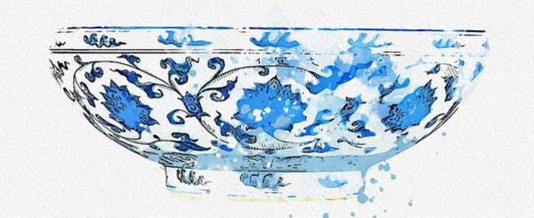 Painting - Blue And White Lotus  Bowl Watercolor By Ahmet Asar by Celestial Images