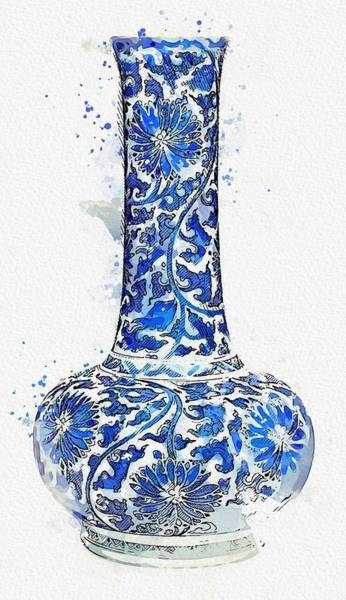 Painting - Blue And White  Lotus Scroll  Vase Watercolor By Ahmet Asar by Ahmet Asar