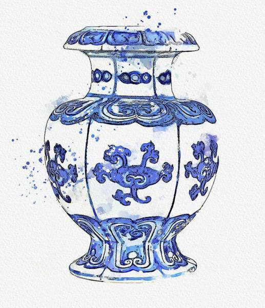 Painting - Blue And White  Pomegranate Vase Ming Dynasty Yongle Period Watercolor By Ahmet Asar by Celestial Images
