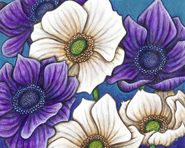 Painting - Blue And White Poppy Anemones by Amy E Fraser