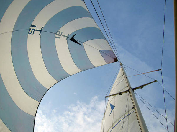 Horizontal Stripes Photograph - Blue And White Spinnaker by Laura A. Watt
