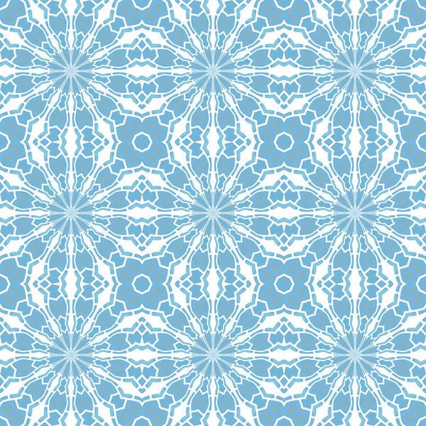 Digital Art - Blue And White Tile Kaleidoscope by Denise Beverly