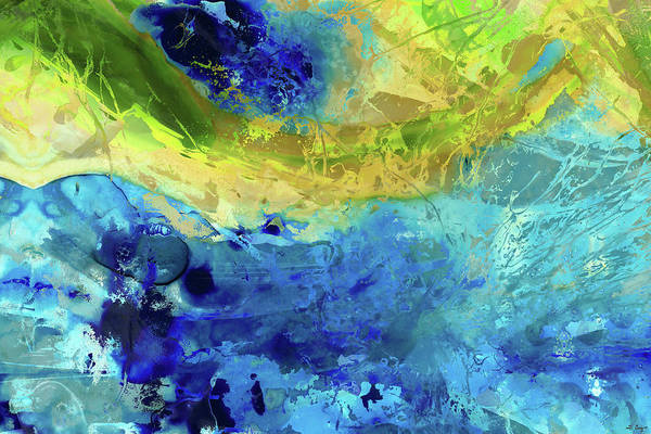 Canaries Painting - Blue And Yellow Abstract Art - Renewal - Sharon Cummings by Sharon Cummings