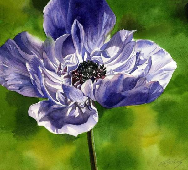 Painting - blue Anemone by Alfred Ng
