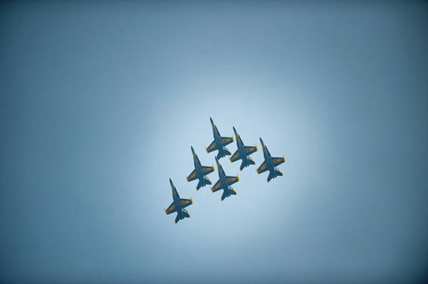 Photograph - Blue Angels Formation by Mark Duehmig