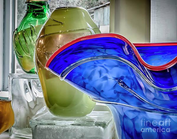 Wall Art - Photograph - Blue Art Glass by Teri Adsit