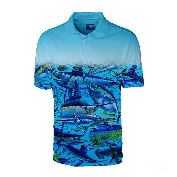 Wall Art - Photograph - Blue Atlantic Gamefish Mens Polo by Carey Chen