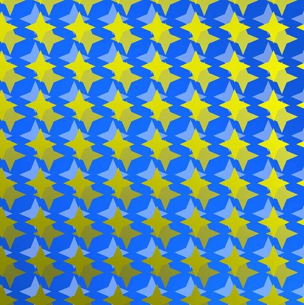 Digital Art - Blue Backlight With Yellow Stars by Alberto RuiZ