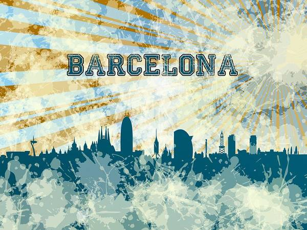 Digital Art - Blue Barcelona Skyline by Alberto RuiZ