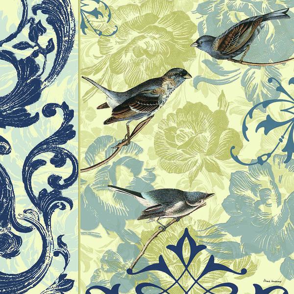 Sparrow Mixed Media - Blue Bbirds II by Marilu Windvand