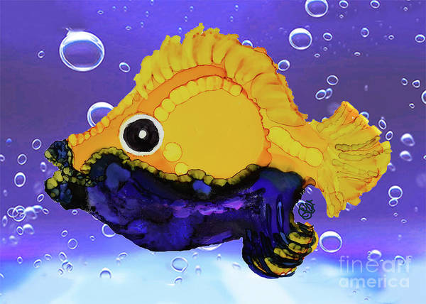 Painting - Blue Beard Funky Fish by Christine Dekkers