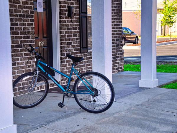 Wall Art - Photograph - Blue Bike Beside The Door by Linda Brown