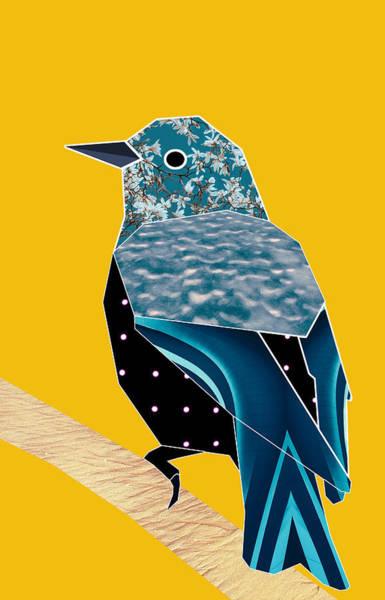 Saffron Digital Art - Blue Bird Collage In Yellow. by Alessandra R