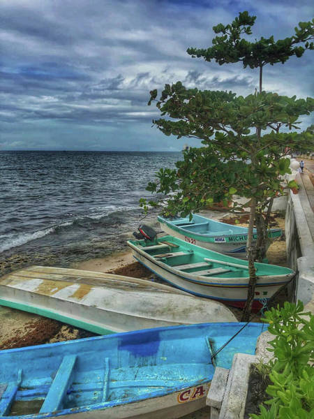 Photograph - Blue Boats by Laura Hedien