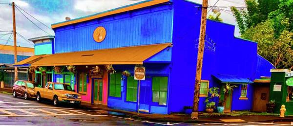 Photograph - Blue Building Aloha In Hilo Town by Joalene Young