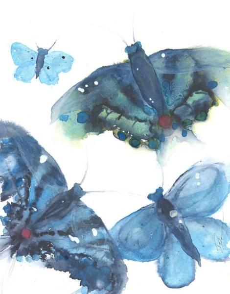Painting - Blue Butterflies by Dawn Derman