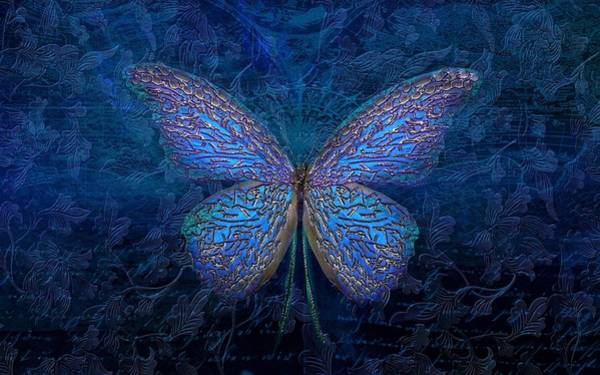 Wall Art - Digital Art - Blue Butterfly by ArtMarketJapan