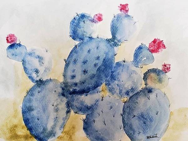 Wall Art - Painting - Blue Cactus by Barbara Chichester