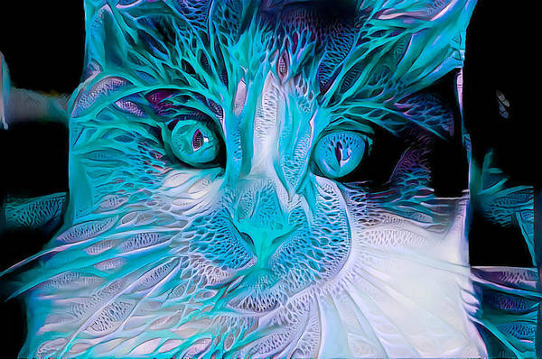Digital Art - Blue Calico Cat by Don Northup