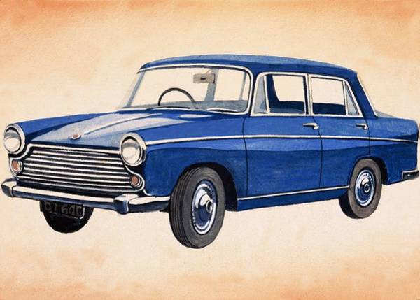 Wall Art - Painting - Blue Car by English School