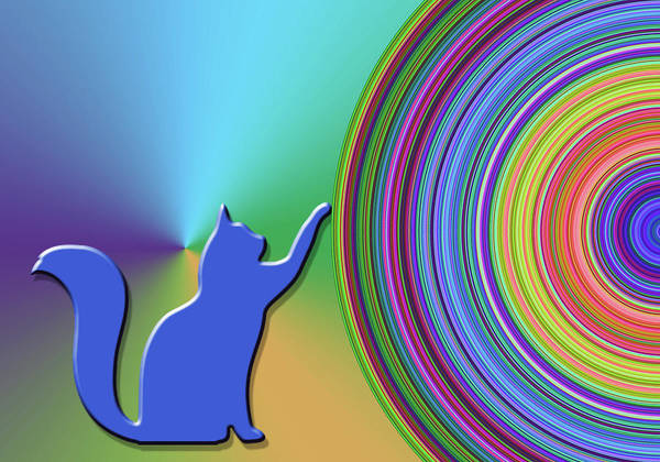Digital Art - Blue Cat by Chuck Staley