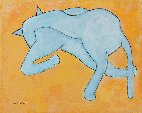 Painting - Cat In Blue On Yellow by Ben Gertsberg