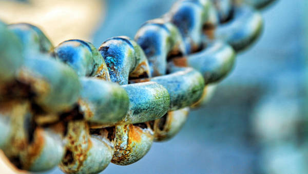 Rusty Chain Wall Art - Photograph - Blue Chain With Rust by Wendell Ward