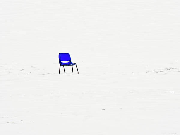 Photograph - Blue Chair On Frozen Lake Mendota - Madison - Wisconsin by Steven Ralser