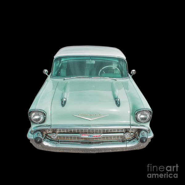 Photograph - Blue Chevy Bel Air Square by Edward Fielding