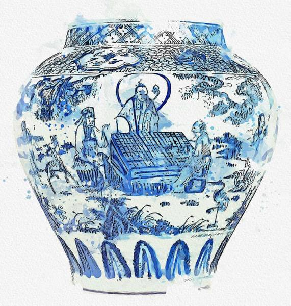 Painting - Blue Chinese Chinoiserie Pottery Watercolor Series,  No 12 By Adam Asar Watercolor By Ahmet Asar by Ahmet Asar