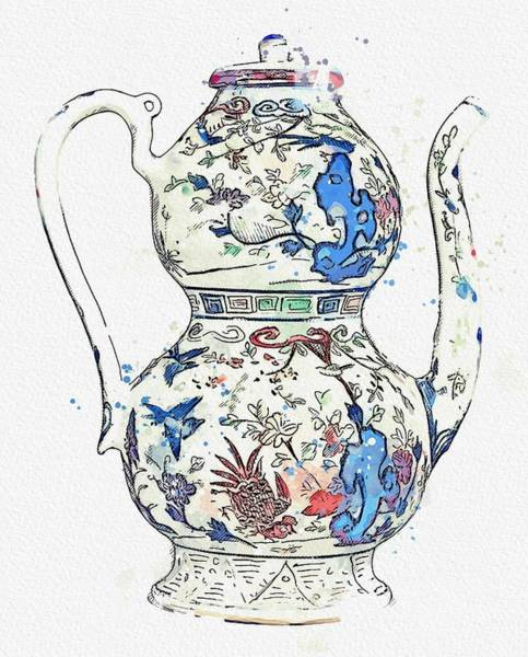 Painting - Blue Chinese Chinoiserie Pottery Watercolor Series,  No 13 By Adam Asar Watercolor By Ahmet Asar by Ahmet Asar