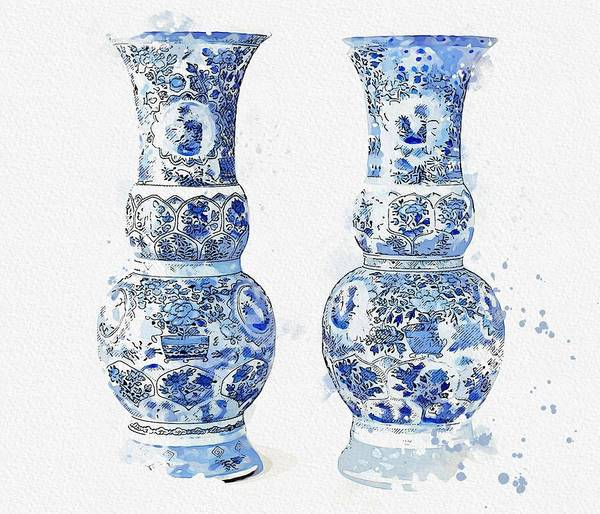 Painting - Blue Chinese Chinoiserie Pottery Watercolor Series,  No 18 By Adam Asar Watercolor By Ahmet Asar by Celestial Images