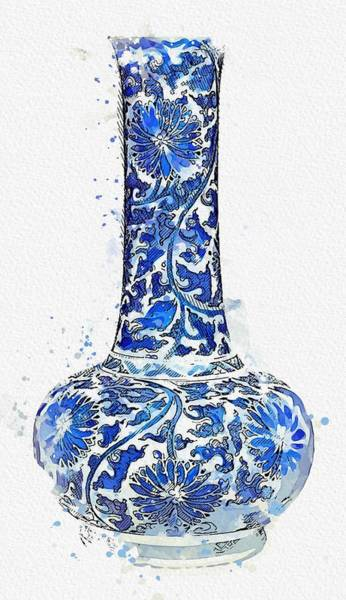 Painting - Blue Chinese Chinoiserie Pottery Watercolor Series,  No 20 By Adam Asar Watercolor By Ahmet Asar by Ahmet Asar