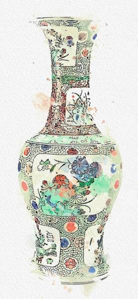Painting - Blue Chinese Chinoiserie Pottery Watercolor Series,  No 21 By Adam Asar Watercolor By Ahmet Asar by Ahmet Asar