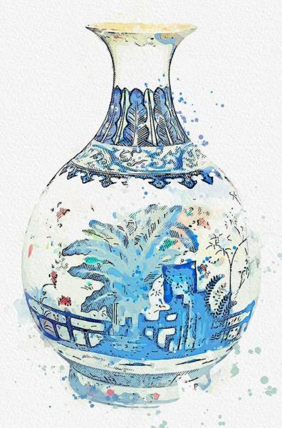 Painting - Blue Chinese Chinoiserie Pottery Watercolor Series,  No 24 By Adam Asar Watercolor By Ahmet Asar by Celestial Images