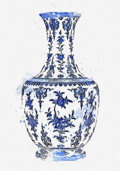 Painting - Blue Chinese Chinoiserie Pottery Watercolor Series,  No 28 By Adam Asar Watercolor By Ahmet Asar by Ahmet Asar