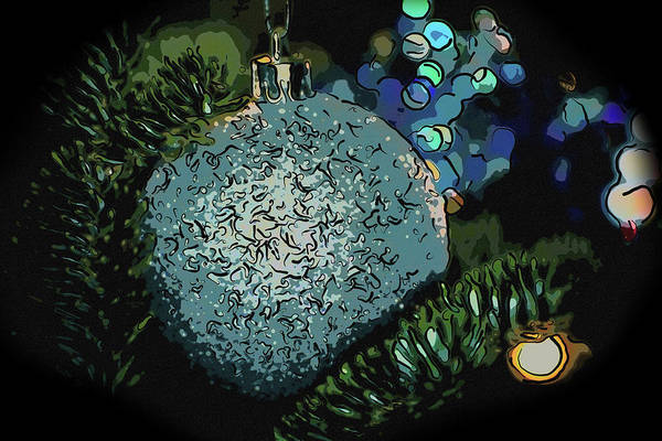 Mixed Media - Blue Christmas Ball by Trish Tritz