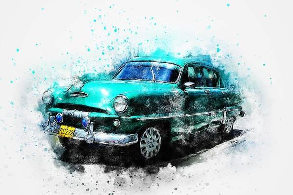 Wall Art - Painting - Blue Classic Car by ArtMarketJapan
