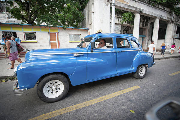 Photograph - Blue Classic Taxi In Havana by Mark Duehmig