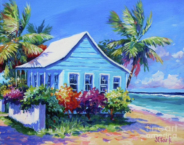 Bahamas Painting - Blue Cottage On The Beach by John Clark