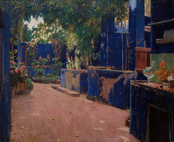 Painting - Blue Courtyard. Arenys De Munt by Santiago Rusinol