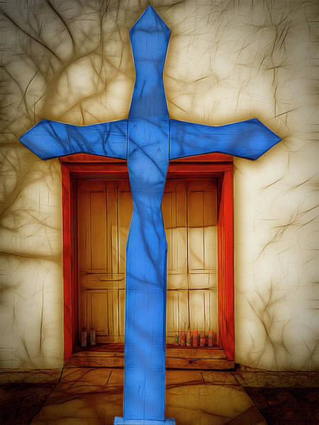 Photograph - Blue Cross At Nuestra Senora De Luz by Paul Wear