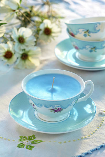 Resourceful Photograph - Blue Cup Candle by Ruth Jenkinson