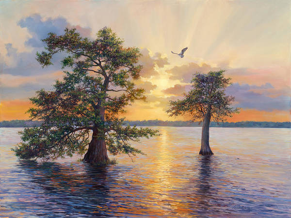 Lake Okeechobee Wall Art - Painting - Blue Cypress Sunset by Laurie Snow Hein
