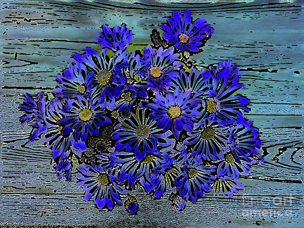 Digital Art - Blue Daisies by Dee Flouton