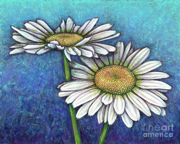 Painting - Blue Daisy Duo by Amy E Fraser