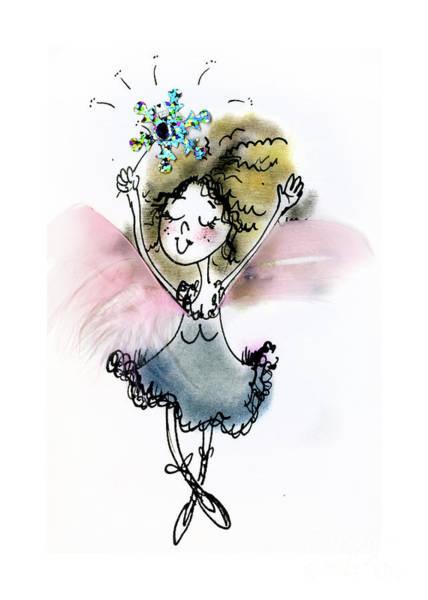 Wall Art - Mixed Media - Blue Dancing Fairy by Angel Ciesniarska