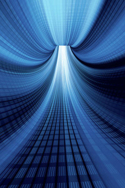 Vertical Perspective Photograph - Blue Digital Tunnel Vertical by Frankramspott