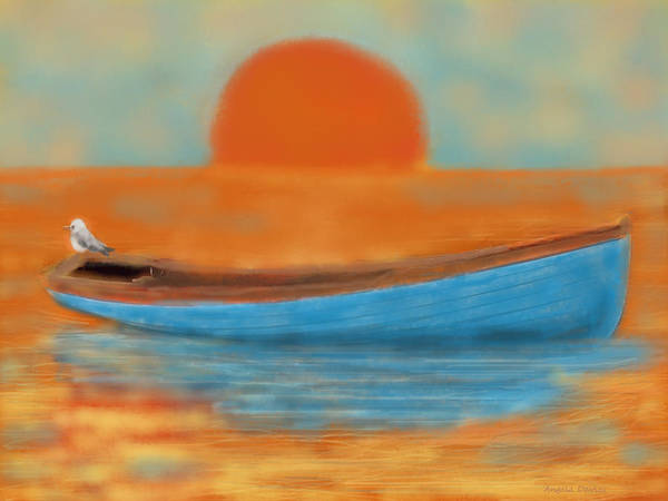 Digital Art - Blue Dinghy by Angela Davies