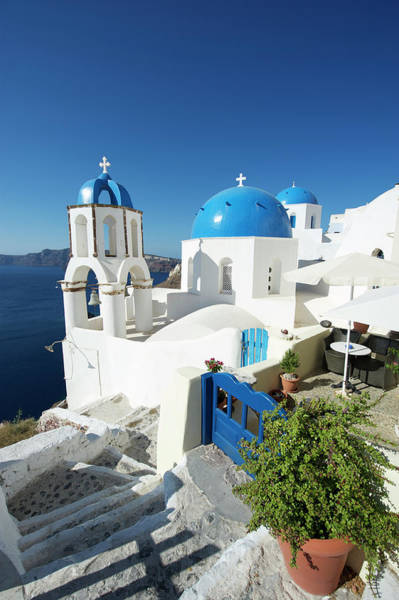 Village Gate Photograph - Blue Dome Greek Church Scene Oia by Peskymonkey